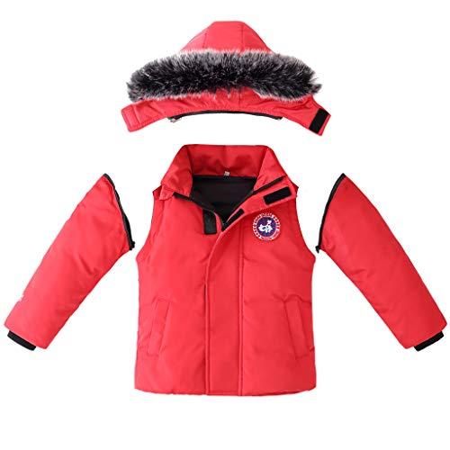 Niños Chaquetas de Pluma Chalecos Bebé Invierno 2 en 1 Abajo Chaquetas y Abrigos para La Nieve Desmontable Manga Capucha Niñas Ropa Rojo 3-4 Años