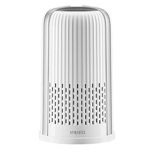 Homedics TotalClean 4-in-1 Tower Air Purifier, 360-Degree HEPA Filtration for Allergens, Dust and Dander with Ionizer for Home, Office and Desktop, Night-Light and Essential Oil Aromatherapy (White)
