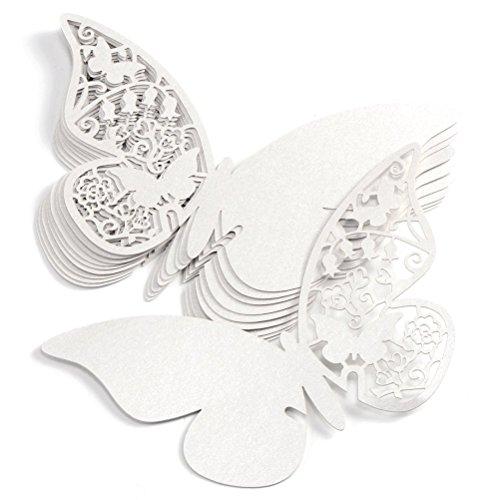 ElecMotive Lot de 100 Papillons Fleur 3D Carte de Verre Marque Place Forme de Papillon Ajouré Décoration de Table pour Fêtes Mariage (Blanc)