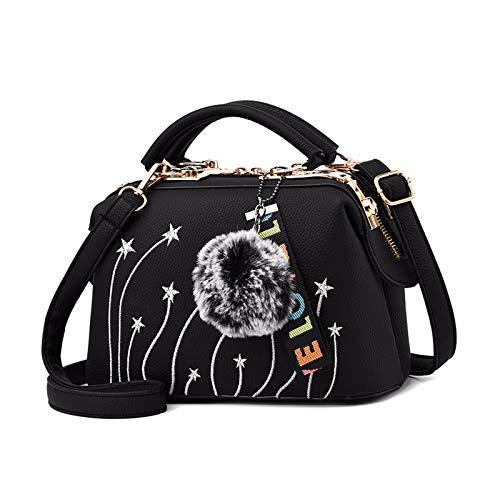 NICOLE & DORIS Damen Handtaschen Kleine Umhängetasche Elegante Tote Henkeltasche PU Leder Schultertaschen Frauen Shopper Tasche mit Haarballanhänger Schwarz