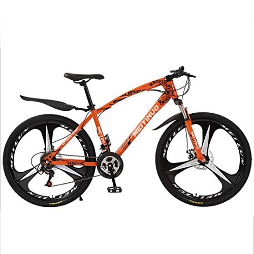 Mountain Bike,Carbon Steel Frame Hardtail Bicycles,Dual Disc Brake and Front Suspension,26' Mag Wheel (Color : Orange, Size : 24 Speed)
