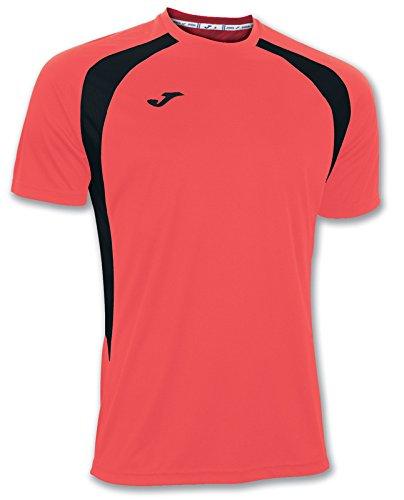 Joma 100014.041 - Camiseta de equipación de Manga Corta para Hombre, Color Coral flúor/Negro, Talla XL