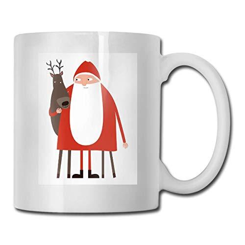Tazza Da Caffè In Ceramica Di Babbo Natale E Renne,Tazza Da Tazza In Ceramica Bianca Con Manico In Vetro Per Bevande Al Tè D'Acqua