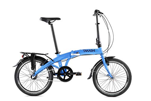 TAKASHI Three, Bicicletta Pieghevole Shimano Nexus, Blu Metallizzato Opaco, Foldable