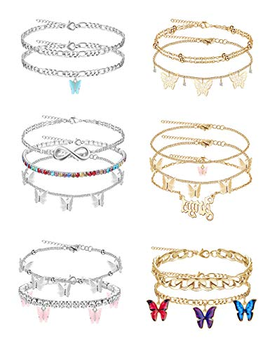 LOLIAS 14Pcs Butterfly Anklets for Women Cute Rhinestone Tennis Ankle Bracelets Boho Summer Beach Layered Chain Anklet Foot Jewelry