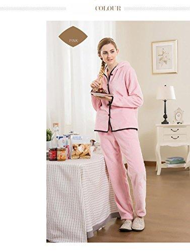 Manica lunga flanella con cappuccio pigiama vestaglia Inverno pigiameria Ultima donna che può essere indossato all'aperto , pink , XL
