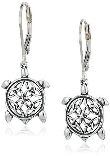 Oxidized 925 Sterling Silver Turtle Celtic Knot Leverback Drop Earrings