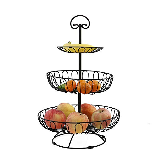 Auroni Obst Etagere 3 stöckige Obstkorb aus Metall - schwarz - für mehr Platz auf der Arbeitsplatte - Größe: 47 cm hoch, max. Durchmesser: 30 cm