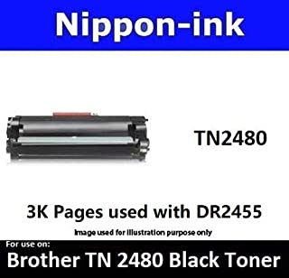 Nippon-ink TN2480 For Use on Brother Laser Black Toner - HL-L2375DW, DCP-L2535DW, DCP-L2550DW, MFC-L2715DW, MFC-L2750DW, Black