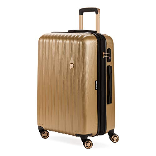 SwissGear Hardside Expandable Luggage with Spinner Wheels and TSA Lock, Gold, Checked-Medium 23-Inch