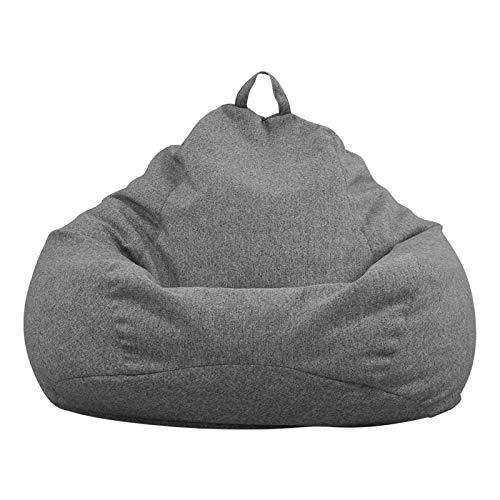 Funda de Bean Bag(Sin Relleno),Funda para Sillón Puff Cubierta para Sofá Perezoso Fundas Clásicas de Puff Pera Bolsa de Frijol para Silla Tumbona Perezosa para Adultos y Niños(Gris oscuro,90x110cm)