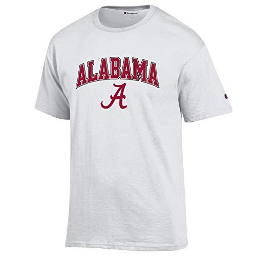 Champion NCAA Herren T-Shirt mit Bogen und Logo, weicher Stil, Baumwolle, Team-Farben, Alabama Crimson Tide, Weiß, XXL