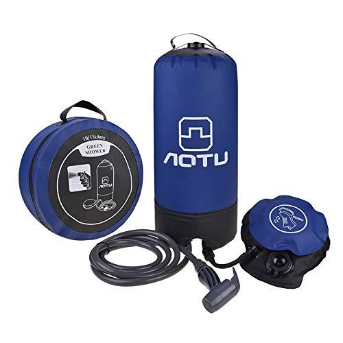 ICDOT Tragbare Außendusche Tasche, 11L Camping Wanderrucksack mit Fußpumpe und Press-Typ Spritzdüse for Backpacking Reisen (Farbe : Blau)