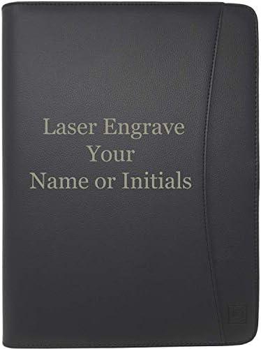 Lautus Designs Engraved Leather Portfolio Padfolio Matt Black Monogrammed Faux Leather Business product image