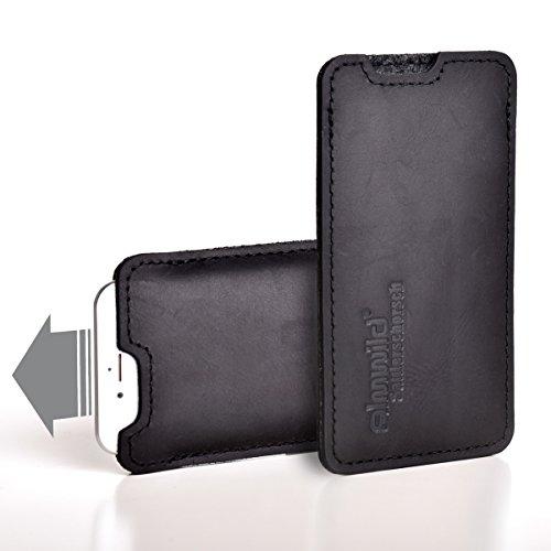Almwild® Hülle, Tasche passend für Apple iPhone 11 MIT Apple Leder Case/Silikon Case aus echtem Rinds- Leder. In Schwarz. Handyhülle in Bayern handgefertigt. Modell Sattlerschorsch