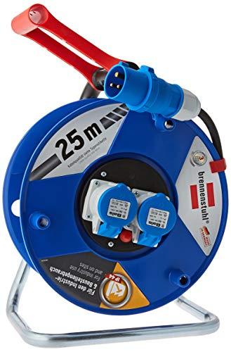 Brennenstuhl Garant CEE 2 IP44 Kabelhaspel voor industriële en bouwplaatsen, 25 m, speciaal kunststof, permanent gebruik buitenshuis, Made in Germany, blauw