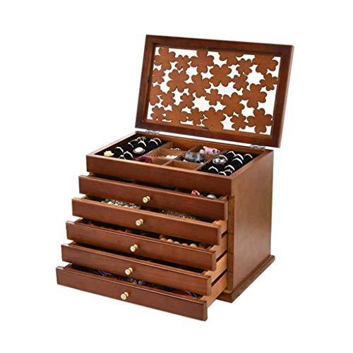 pojhf GYDSSH Ampliación de joyería de Madera Caja, Caja de Joya Gabinete Armario Anillo necklacel Regalo Caja de Almacenamiento Organizador