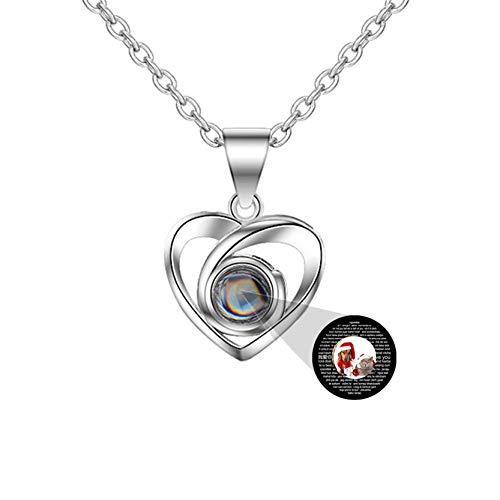 Y.verve Collar Personalizado con Foto en 100 Idiomas TE Quiero Collar de Promesa Amor Memoria Collar Personalizado Colgante de corazón(Plata a Todo Color 18)