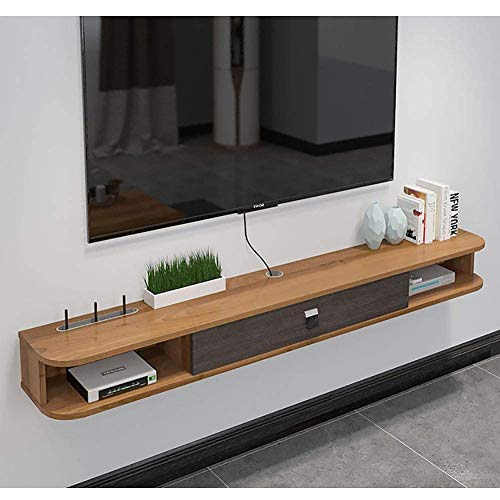 Wap Floating Tv Shelf with Door, Wood Media Console Wall Mounted Shelves Hanging Tv Cabinet for Cable Boxes Routers DVD Players-B 120Cm(47Inch) / A / 120cm(47inch)