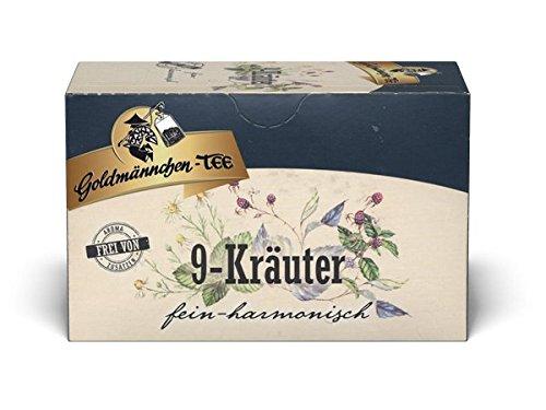 Goldmännchen Tee 9-Kräuter, naturrein, Haustee, Kräutermischung, Kräutertee, 20 Teebeutel, 3er Pack (3 x 30 g)