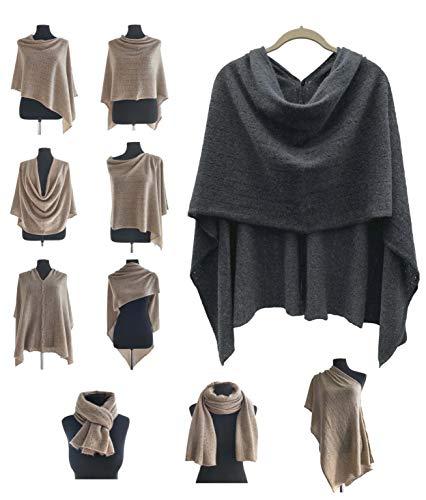 Poncho de cachemir para mujer, bufanda de viaje, chal con botones, de punto, pashmina, portátil, ligera, multisentido, 100% puro, regalo ético, carbón, gris oscuro