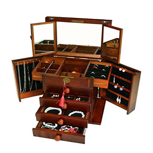 GWFVA Large Organizer Container Case, Three Mirror Retro Vintage Wooden Jewelry Box with Lock, for Bracelets, Earrings, Rings 31 21 28CM