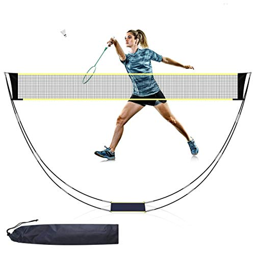 Badminton Net Set for Garden Portable Folding Removable Badminton Net with Poles and Stand Carry Bag Lightweight Easy Setup for Court Backyard Beach Indoor Outdoor98 FT