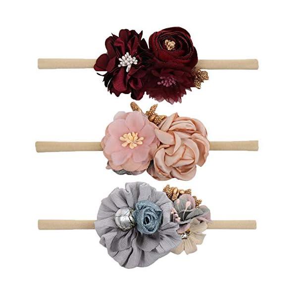 VOBOBE Baby Girl Nylon Headbands Infant Flower Elastic Hair Band Bows Wraps For Newborn Toddler Hair Accessories Pack of 3, Flower Td006, Medium
