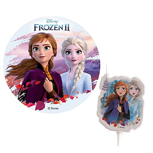 Formycake Pack Decorazione Torte di Compleanno per Bambini - Disco di Ostia e Candela Elsa & Anna Frozen
