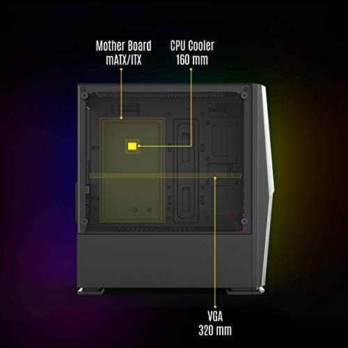 Zebronics Zeb-Odin Premium Gaming Chassis with Transparent Side Panel, Dual Multi Color Cooling Fans