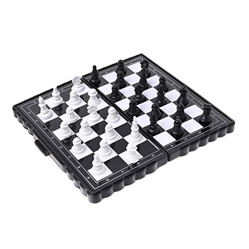 WT-DDJJK Ajedrez Plegable, 1 Juego Mini Ajedrez portátil Tablero de ajedrez de plástico magnético Plegable Juego de Mesa Juguete para niños