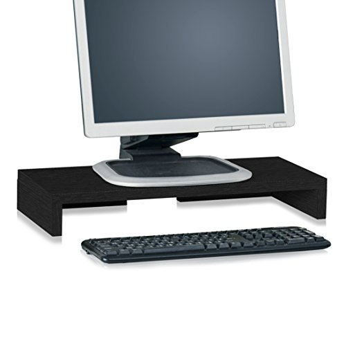 Way Basics TV PC Desktop Modern Computer Monitor Stand Screen Riser (Tool-Free Assembly and Uniquely Crafted from Sustainable Non Toxic zBoard Paperboard), Black Wood Grain
