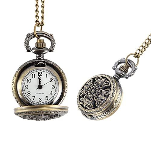 ZHAOJ Moda Vintage Mujer Reloj de Bolsillo aleación Retro Ahuecado Flores Colgante Reloj Collar Cadena Relojes señora Regalo