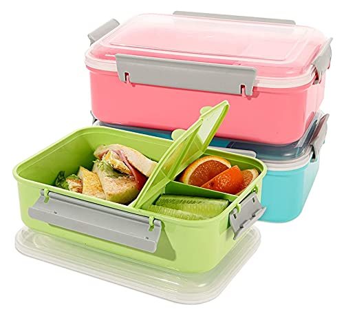 sacfun Salad Food Storage Container to Go, 47-oz Bento Box with Removable Tray & Dressing Pots, for Lunch, Snacks, School & Travel - Food Prep Storage Containers with Lids 3 Pack