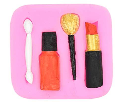 Molde de silicona para maquillaje con forma de lápiz labial para fondant, cejas, colorete, forma de pincel de fondant, chocolate, molde de silicona para repostería