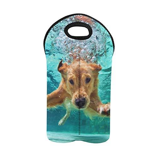 Bolsas de vino navideñas Buceo para perros bajo el agua en la piscina Imagen Id8 Bolsa de picnic para picnic Bolsa de vino doble para viajar Portabotellas de neopreno grueso Mantie