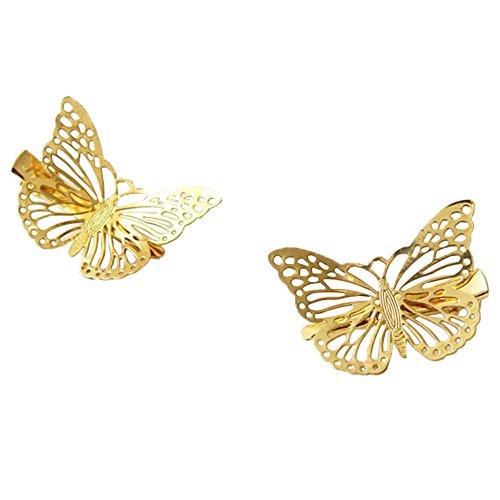 Xiang Ru 2PCS Femme Pince à Cheveux Papillon Creux Bijoux Coiffure Fantaisie 3 * 4.5cm