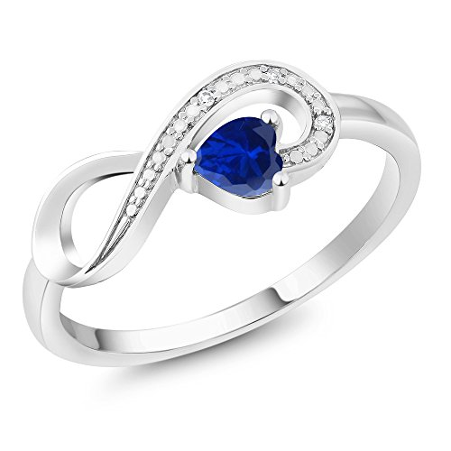 Gem Stone King 10K White Gold Blue Created Sapphire and Diamond Women Infinity Ring (0.50 Ct Heart Shape, Available in size 5, 6, 7, 8, 9)