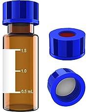 Albert Filtro de 2 ml para autosampler con área de escritura y graduaciones, 9-425 HPLC, tapa de rosca, PTFE blanco y septa de silicona roja, 100 unidades