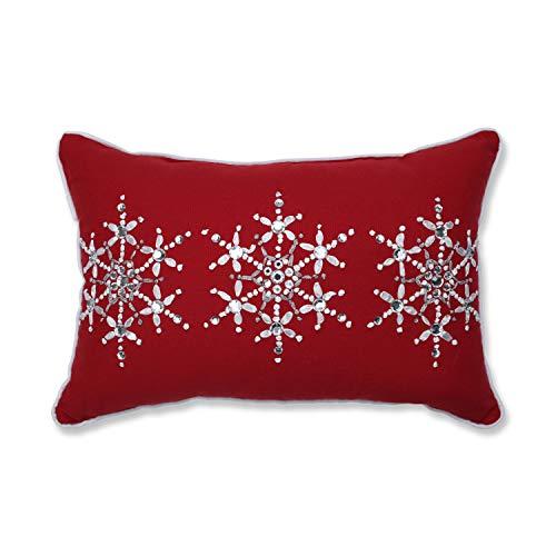 Pillow Perfect Jeweled Christmas Snowflake 12 ' X 18 1 Decorative Lumbar Pillow, 12' x 18', Red