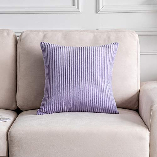 Home Brilliant Decor Throw Pillow Cover Set Solid Supersoft Corduroy Handmade Decorative Velvet Cushion Cover for Bed, Lavender, 18x18 Inch (45cm)