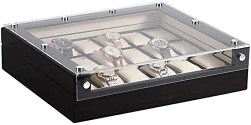 Boîte à montres en bois de luxe 18 emplacements Boîte de rangement Boîte à bijoux Boîte à bijoux Boîte à bijoux Housse en verre Plateau pour homme