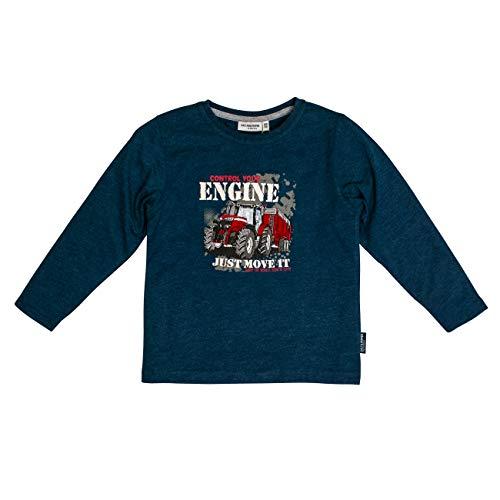 SALT AND PEPPER Jungen Super Tractor Engine Applikation Langarmshirt, Blau (Ink Blue Melange 475), 104 (Herstellergröße: 104/110)