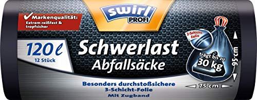 Swirl Profi Schwerlast-Abfallsäcke mit Zugband, 120 Liter, Reißfest, 12 Stück pro Rolle