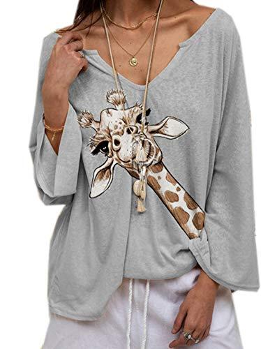 Camisetas Estampadas De Jirafa para Mujer De Talla Grande para Mujer, Camiseta Informal De Manga Larga con Cuello En V Y Bonito Animal para Mujer