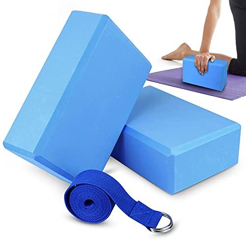 Eyscoco Yoga Block 2er Set,Yogablock Eva-Schaumstoff Mit 1.8m Baumwoll Yogagurt,Stabil rutschfest Yogablock Und Gurt Set für Anfänger und Fortgeschrittene Meditation Pilates Joga Fitness (Blue)
