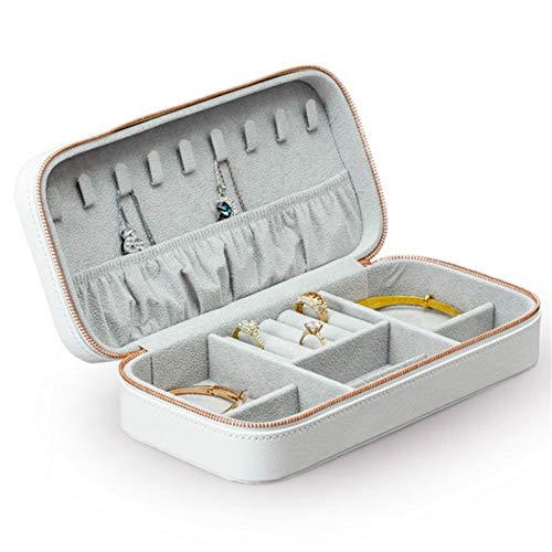 Jewellery Box Small Jewelry Organizer Box Travel Portable Jewellery Cases Leather Home Use Display Storage For Rings Earrings Necklace for Girls and Women's Gift (Color : White, Size : Small)