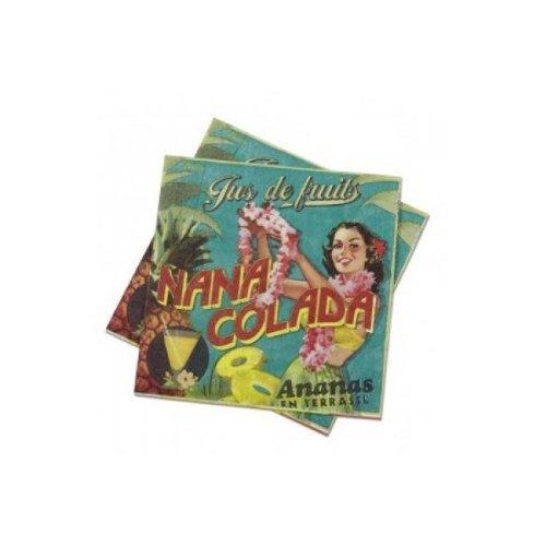 Natives - Serviettes En Papier Nana Colada - Taille : 33 X 33 Cm