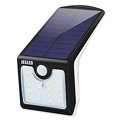 JESLED 5W LED Solar Sensor Light, 6500k, Outdoor Mini Wall Lights for Garden Patio Yard with Motion Activated Auto On/Off (1-Pack)