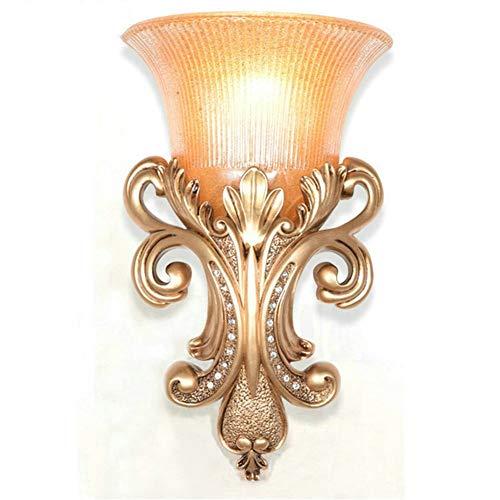 KANJJ-YU Ex salón moderna lámpara de pared del dormitorio del hotel de la lámpara de pared LED fabricantes de iluminación lámpara de vidrio de cristal de espejo europeos (Size : Gold)